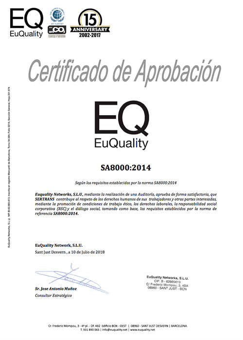 Certificado sa8000